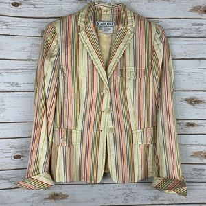 Carlisle Silk Blazer Striped Size 6 Long Sleeve